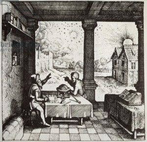STC202566 An Astrologer casting a Horoscope, copy of an illustration from 'Utriusque Cosmi Historia' by Robert Fludd, Oppenheim 1617, used in a 'History of Magic', published late 19th century (engraving) by German School, (17th century) (after); Private Collection; The Stapleton Collection; German,  out of copyright